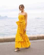 dress,all yellow outfit,yellow dress,sandals,sandal heels,high heel sandals,lace dress,bow,bow dress