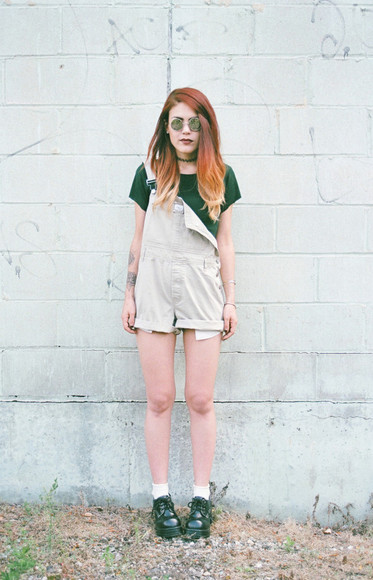 round sunglasses shoes top jumpsuit blogger le happy goth hipster choker necklace ombre hair