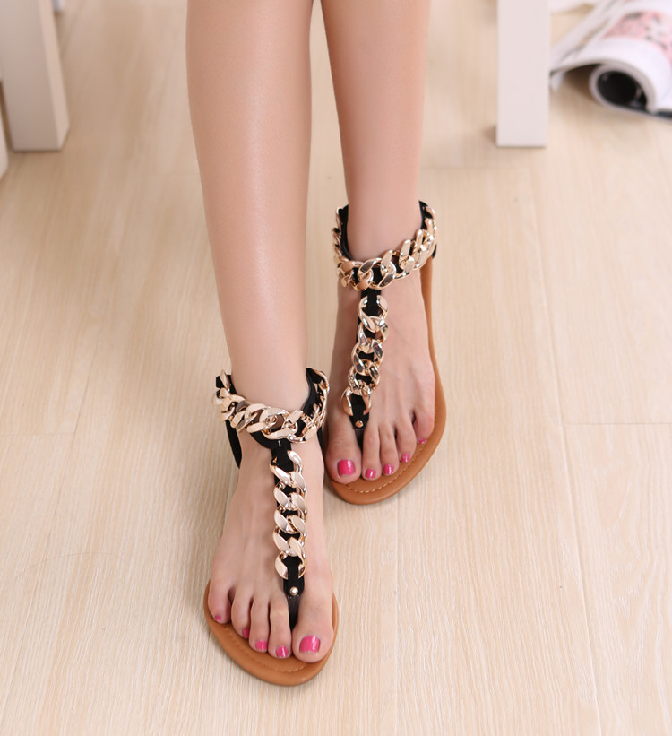 Sexy handmade chain clip toe herringbone soft outsole flat zipper female sandals sandalia rasteirinha feminina rasteirinha-inSandals from Shoes on Aliexpress.com
