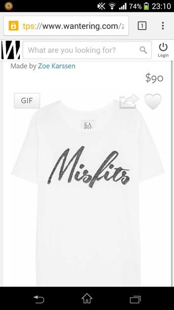 white t-shirt misfits t-shirt