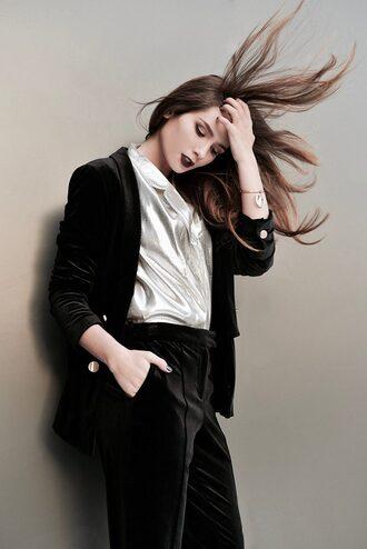 lolita mas blogger jacket pants shoes shirt jewels suit blazer black blazer