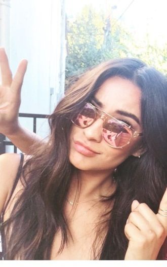 sunglasses shay mitchell sunnies pinklenses rosegoldlenses aviator sunglasses