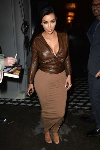 kim kardashian bodycon skirt brown v neck blouse jacket
