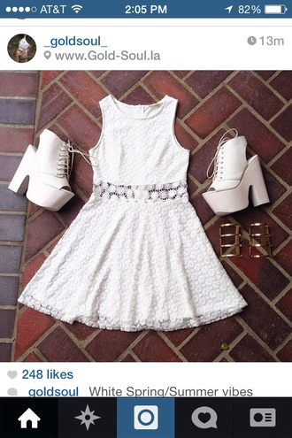 dress lace white dress flower pattern skater dress sleeveless shoes