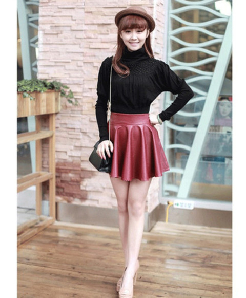 skirt red skirt black skirt short skirt leather skater skirt