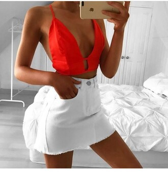 top outfit outfit idea summer outfits cute outfits spring outfits date outfit party outfits summer top tank top cute top crop tops skirt mini skirt white skirt high waisted skirt cute skirt trendy clothes fashion stylish style