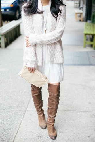 cardigan white and beige outfit white and beige white cardigan dress white dress boots beige shoes over the knee boots over the knee bag white bag winter outfits winter look tumblr