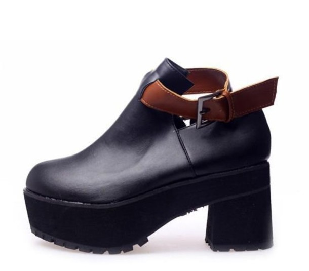 shoes boots chunky sole platform shoes platform shoes platform shoes black