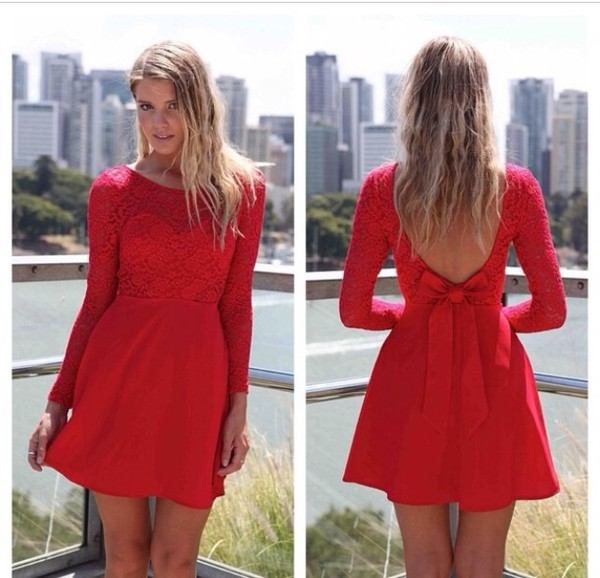 dress red lace red lace dress little red dress long sleeve dress bows