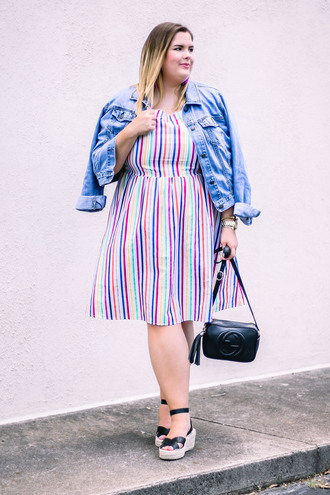 stylishsassy&classy blogger dress jacket shoes bag jewels gucci bag denim jacket striped dress sandals summer outfits