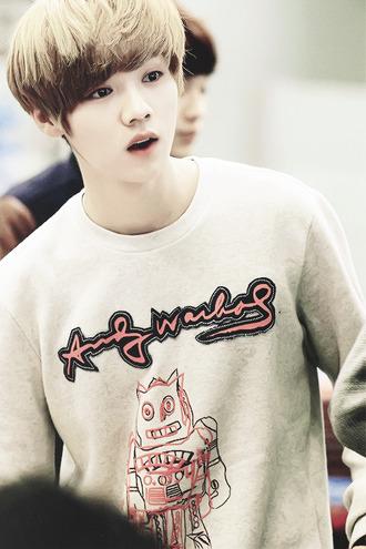 sweater exo sweatshirt robot pink doodle cute luhan kfashion kpop