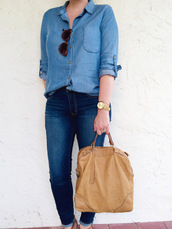 a pretty penny,blogger,shirt,bag,jewels,shoes,denim,denim shirt,skinny jeans,tote bag,leather bag