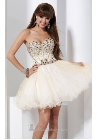 A-LINE SWEETHEART RHINESTONE BODICE TULLE SKIRT SHORT/ MINI LENGTH PROM DRESS / EVENING DRESSES  DIB138018 on The Hunt