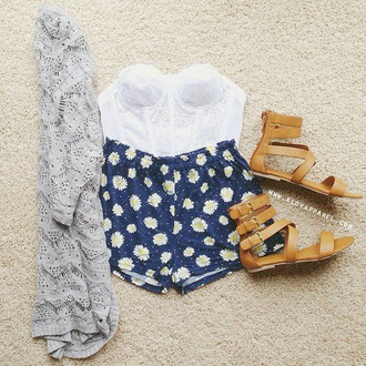 high waisted shorts flowered shorts lace white shirt grey cardigan brown sandals sweater shoes top