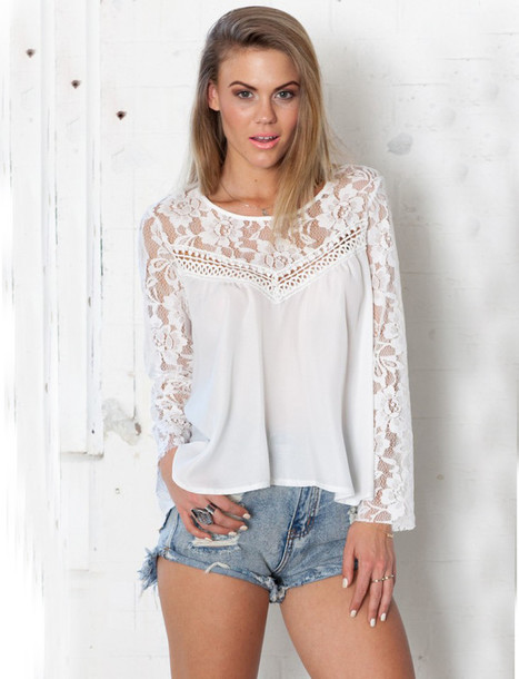 blouse lace blouse shirt crochet blouse