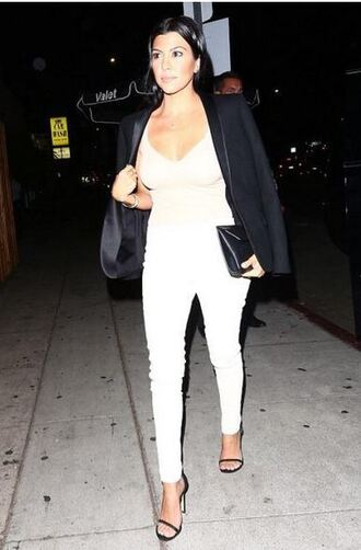 jeans top sandals bodysuit kourtney kardashian
