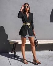 shoes,sandals,mid heel sandals,handbag,black blazer,belt,mini skirt,sunglasses,earrings