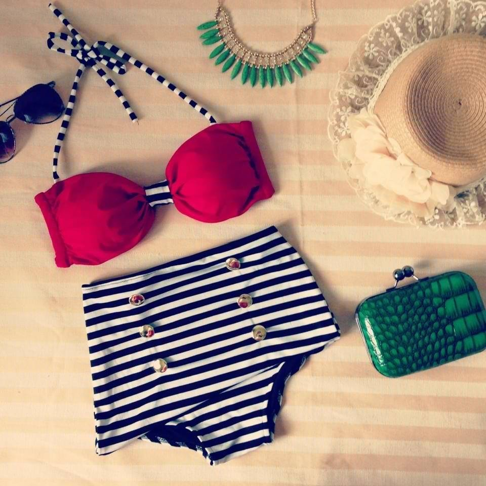 Red halter top & black striped highwaist bikini from koala_t_fashion on storenvy