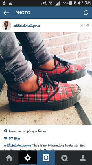 shoes vans red plaid black laces