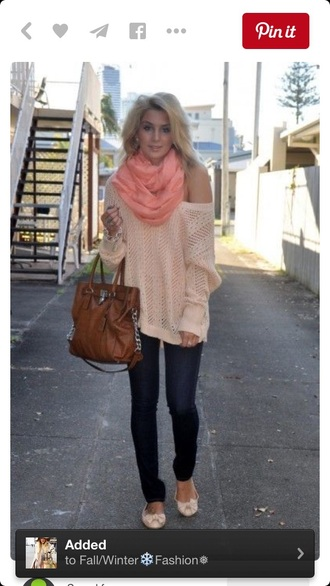 bag handbag purse sweater one shoulder fashion fall sweater outfit jeans