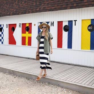 dress hat tumblr midi dress stripes striped dress shoes slide shoes mules bag sunglasses sun hat jacket