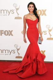 dress,sexy dress,celebrity style,red,mermaid,red mermaid,mermaid prom dress,strapless,ruffle,mermaid evening gown,floor length dress,red carpet,debs dress,cute dress,elegant dress,red dress,this dresss
