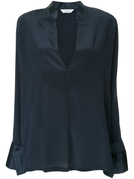 Kacey Devlin blouse women blue silk top