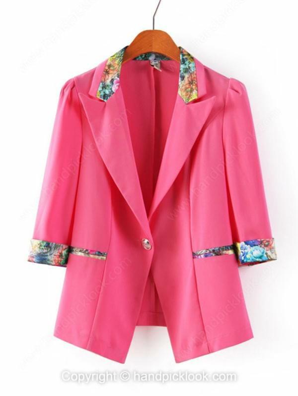 jacket blazer blazer pink hot pink pink blazer hot pink blazer floral floral blazer lapel
