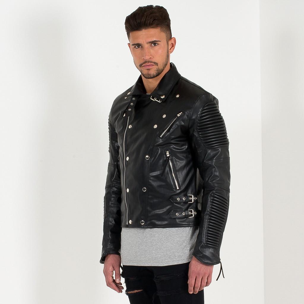 Ribbed Leather Biker Jacket