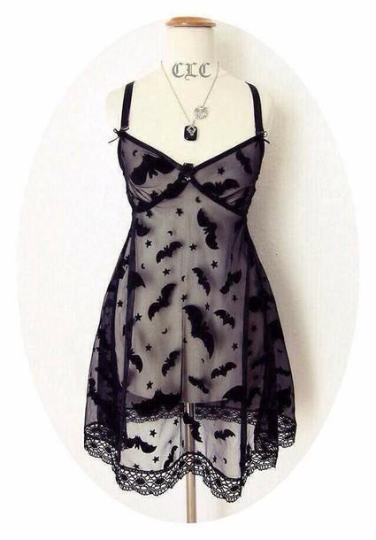 underwear bats black sheer lingerie dress lingerie goth pastel