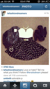 skirt,clothes,black,cross,skater skirt,heels,crop tops,white,shoes,tank top,jacket