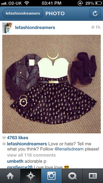 heels shoes skirt jacket clothes black tank top cross skater skirt crop tops white