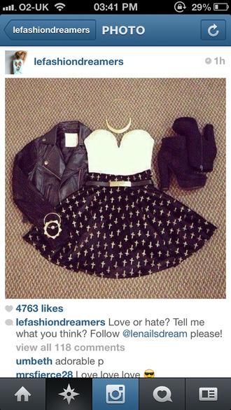skirt clothes black cross skater skirt heels crop tops white shoes tank top