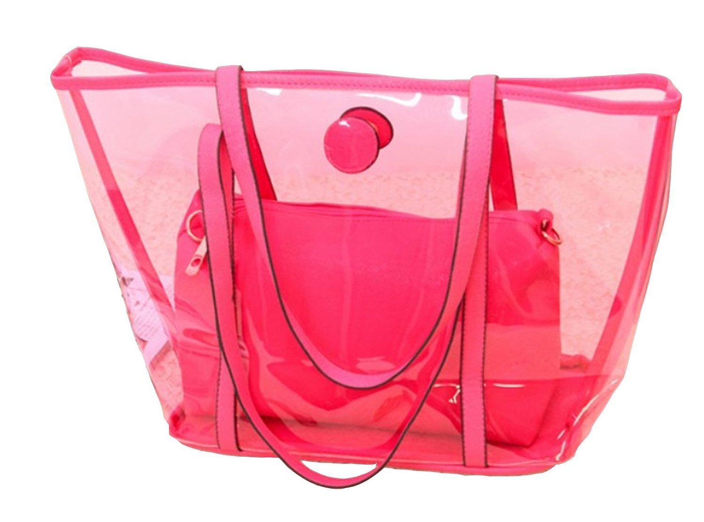 Clear Transparent Tote Shoulder Bag Satchel, Beach Handbag Rose ...
