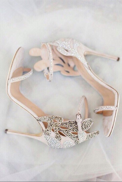 Shoes: blush heels, blush, heels, appliqué, prom shoes, strappy ...