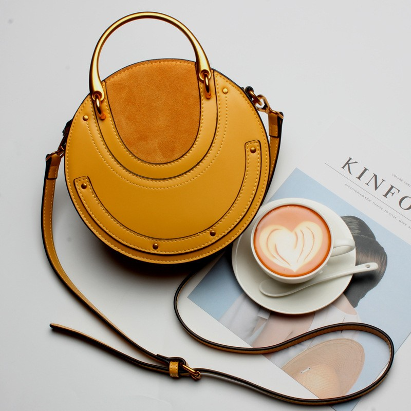 Yellow Genuine Leather Circle Crossbody Bag with Metal Handle
