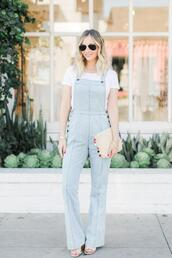 cupcakes and cashmere,blogger,t-shirt,shoes,bag,jumpsuit,denim jumpsuit,denim overalls,clutch