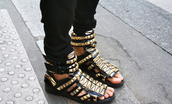 sandals,black shoes,studded shoes,studded sandals,flats,sandels,studs,leather,orange shoes,givenchy,shoes,studded gladiators,summer shoes,gladiators,studds