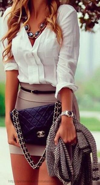 top handbag shirt white top skirt