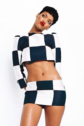 shirt crop tops crop colorblock rihanna cute style fashion black and white skirt crop top and skirt set matching set