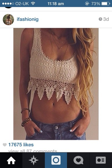 tank top crop tops cream top white top crochet crop top, crochet, white, boho
