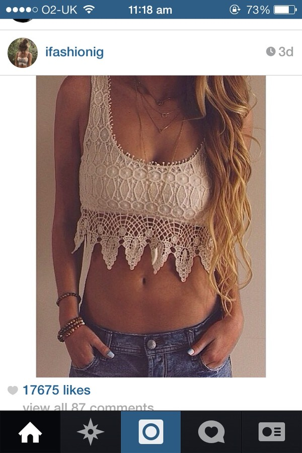 tank top crop tops white top cream top crochet crop top crochet boho