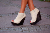 shoes,booties,wedges,wedge booties,black,white,peep toe,high heels,zip