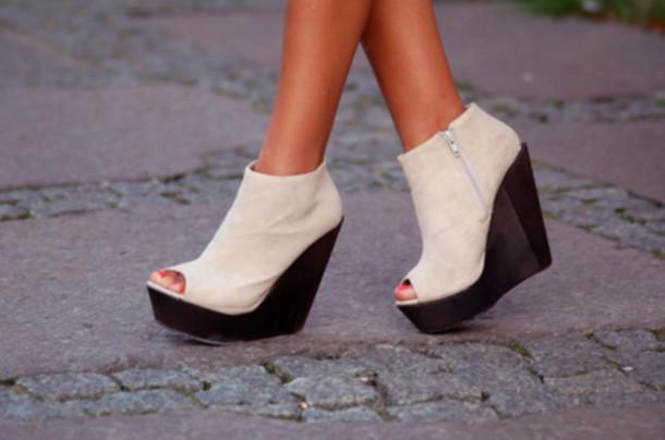 45ab6283eaf shoes booties wedges wedge booties black white peep toe high heels zip