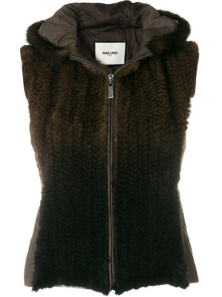 Max & Moi vest fur vest sleeveless fur women brown jacket