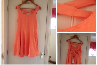 dress orange dress skaterdress