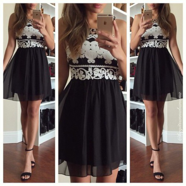 Dress Black Dress White Dress Black And White Dress Lace Dress