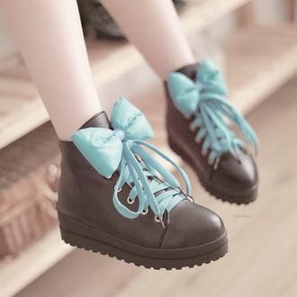 shoes bows lace brightblue black combat ankleboots