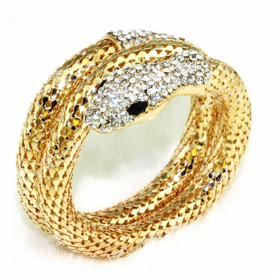 Snake head crystal bangle bracelet gold or silver · ebony lace fashion boutique · online store powered by storenvy