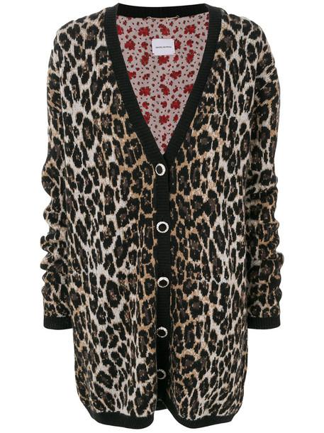 Magda Butrym cardigan cardigan oversized women print black silk wool leopard print sweater